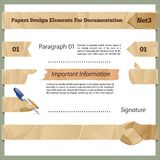 Crumpled Paper Design Elements For Documentation Set3 Royalty Free Stock Photography