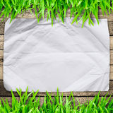 Crumpled paper on  Green grass with wood Royalty Free Stock Photos