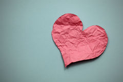 Crumpled paper heart Stock Photo