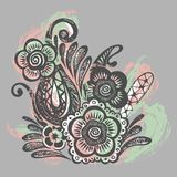 Crumpled paper with ink doodle flowers seamless Royalty Free Stock Image
