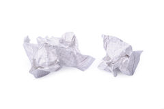 Crumpled paper isolated a on white Stock Photos