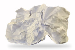 Crumpled paper. Isolated crumpled paper on white background stock photo