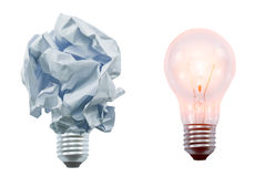Crumpled paper lamp Stock Images