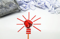 Crumpled paper light bulb metaphor for good idea Stock Image