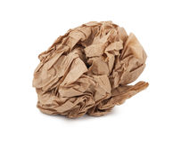 Crumpled paper lunch bag - trash Royalty Free Stock Image