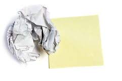Crumpled paper and note Stock Images
