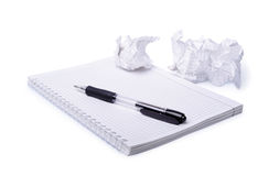 Crumpled paper, notebook and pen Stock Photos