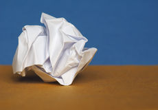 Crumpled paper over brown blue background with copy space Stock Photography
