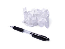 Crumpled paper and pen isolated on white Stock Images