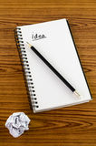 Crumpled paper and pencil with notebook Royalty Free Stock Photos