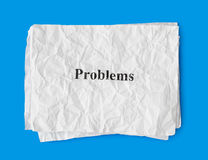 Crumpled paper problems Stock Photography