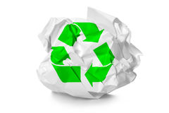 Crumpled paper with recycling symbol Stock Photos