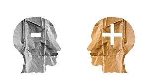 Free Crumpled Paper Shaped As A Human Heads And Plus And Minus Signs. Stock Photos - 99877973