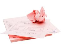 Crumpled paper on stack of papers Royalty Free Stock Images