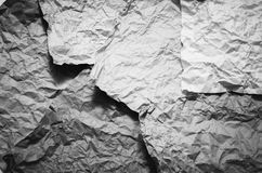 Crumpled paper texture black and white color tone style Royalty Free Stock Photo
