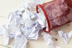 Crumpled paper in the trash can. Recycle royalty free stock image