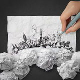 Crumpled paper and traveling around the world Royalty Free Stock Image