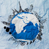 Crumpled paper and traveling around the world. As vintage style concept stock photo