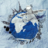 Crumpled paper and traveling around the world as vintage style Stock Images