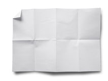 Crumpled paper on white. Empty white Crumpled paper on white background stock image