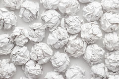 Crumpled paper on white table brainstorming. In the office concept stock photos