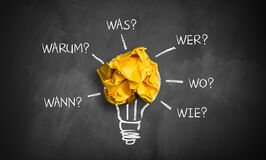 Crumpled Paper With The Words When, Why, What, Who, Where, How In German Royalty Free Stock Image