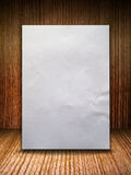 Crumpled paper on wood wall. Blank Crumpled paper on wood wall Stock Photos