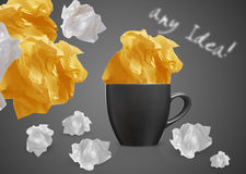 Crumpled papers and coffee Stock Image