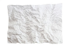 Crumpled piece of paper. Isolated on white background. One white crumpled paper list stock image