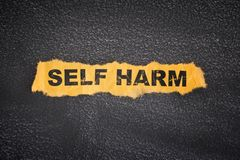 Crumpled piece of paper with words Self Harm. Close up royalty free stock photo