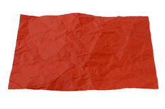 A crumpled piece of red paper. On a white background Stock Images