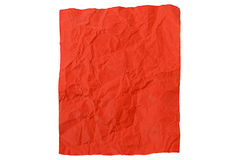 Crumpled piece of red paper. A crumpled piece of red paper on a white background Stock Photography