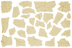 Crumpled pieces of masking tape. On white background Stock Image