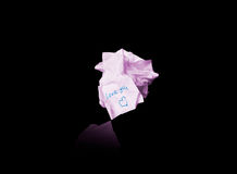 Crumpled pink paper inscription love you Stock Image