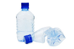 The crumpled plastic bottle Stock Images