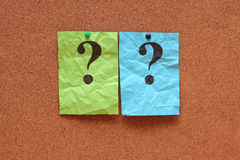 Crumpled question marks Stock Images