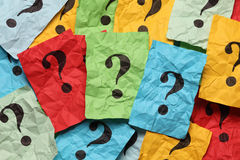 Crumpled question marks heap Royalty Free Stock Images