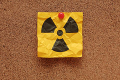 Crumpled Radioactive Sign Royalty Free Stock Images