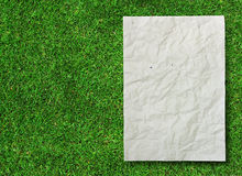 Crumpled recycle paper on green grass Royalty Free Stock Images