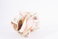 Crumpled russian money Stock Photo