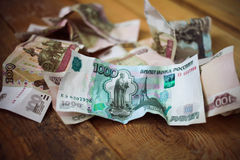 Crumpled  Russian rubles Royalty Free Stock Photos