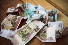 Crumpled  Russian rubles Stock Photo