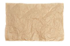Crumpled sheet of kraft paper on a white background as a template for a backdrop stock photos