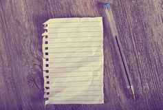 Crumpled sheet notebook Stock Images