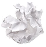 Crumpled sheet of paper. Isolated on white background stock photo