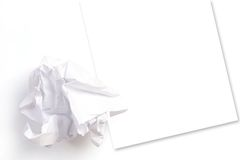Crumpled sheet of paper. On the clean paper Stock Image
