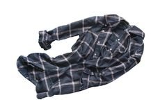 Crumpled shirt isolated. Crumpled tartan blue and pink shirt isolated over white stock image