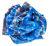 Crumpled silk scarf with abstract blue pattern Stock Image