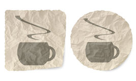 Crumpled slip of paper. And a cup of coffee Royalty Free Stock Photos