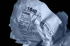 Crumpled tax form Royalty Free Stock Photo